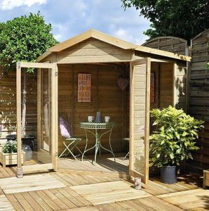 Hartwood 7' x 7' FSC Pressure Treated Oxhill Corner Summer House Side View