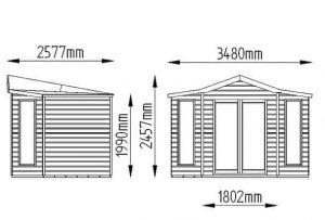 Hartwood 8' x 8' FSC Pressure Treated Bancroft Corner Summer House Dimensions