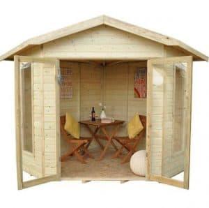 Hartwood 8' x 8' FSC Pressure Treated Bancroft Corner Summer House Front