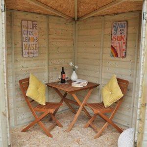 Hartwood 8' x 8' FSC Pressure Treated Bancroft Corner Summer House Internal View