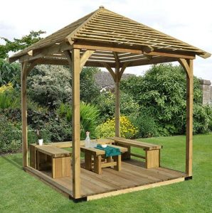 Hartwood 9'7 x 9'7 FSC Pressure Treated Venetian Pavillion with Flooring