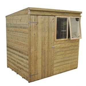 Hartwood Premium 7' x 5' FSC Tongue and Groove Pent Shed Right Side View Closed Door