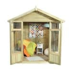 Hartwood Tetbury 7' x 5' FSC Overlap Apex Pressure Treated Summerhouse Double Door Open