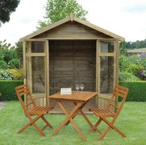 Hartwood Tetbury 7' x 5' FSC Overlap Apex Pressure Treated Summerhouse Front