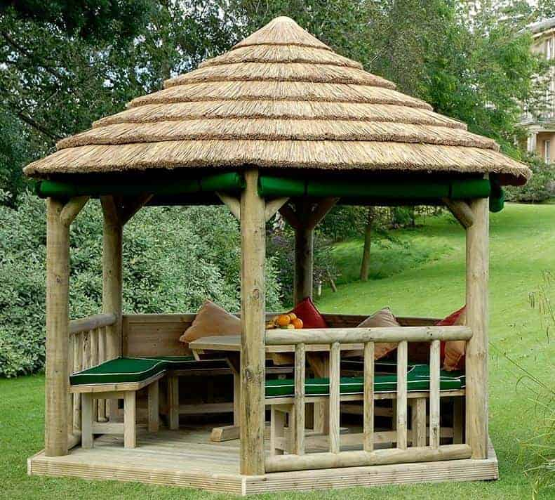 11 x 10 M&M Royal Hexagonal Thatched Roof Large Gazebo