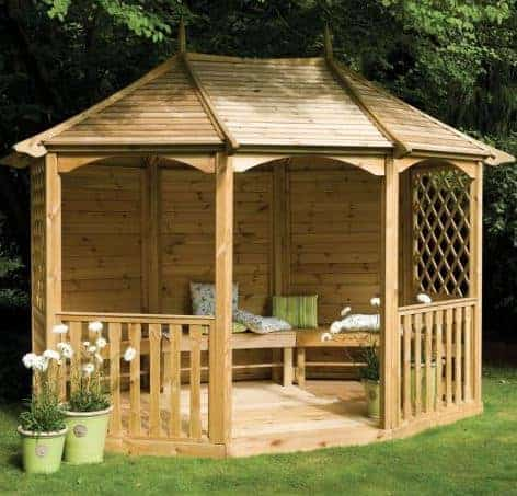 13'x10' (3.9x3m) Rowlinson Sandringham Wooden Garden Gazebo