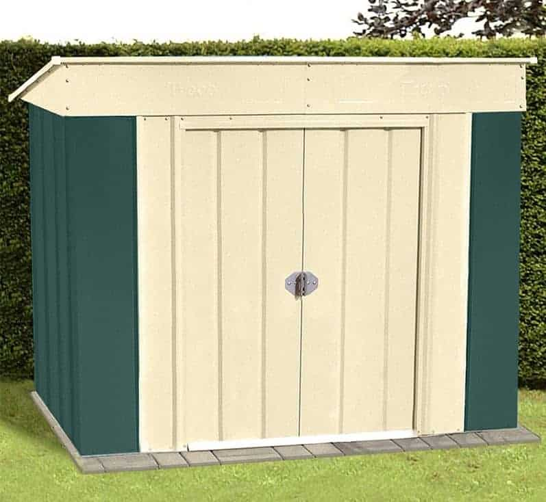 6' x 4' Lotus Heritage Green Low Pent Metal Shed (1.8m x 1.24m)