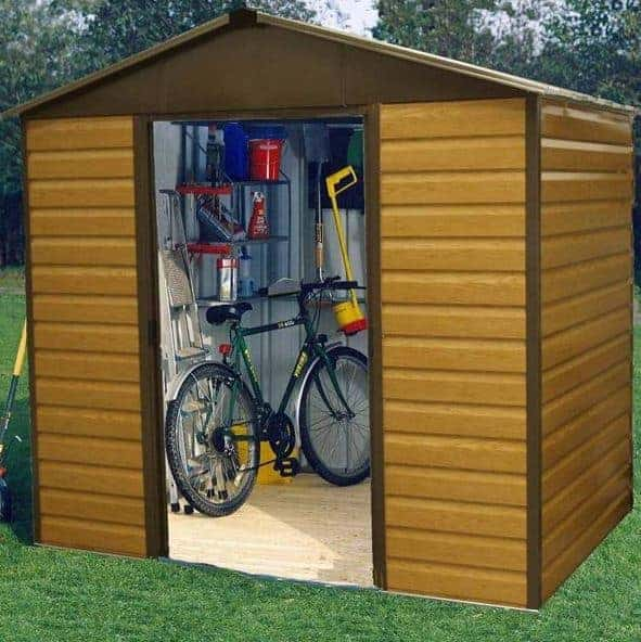 8x6 Yardmaster 86WGL Woodgrain Apex Metal Shed