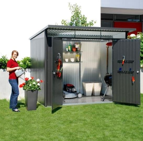 8' x 6' Falcon Heavy Duty Metal Garden Shed - Double Door (2.4m x 2.1m)
