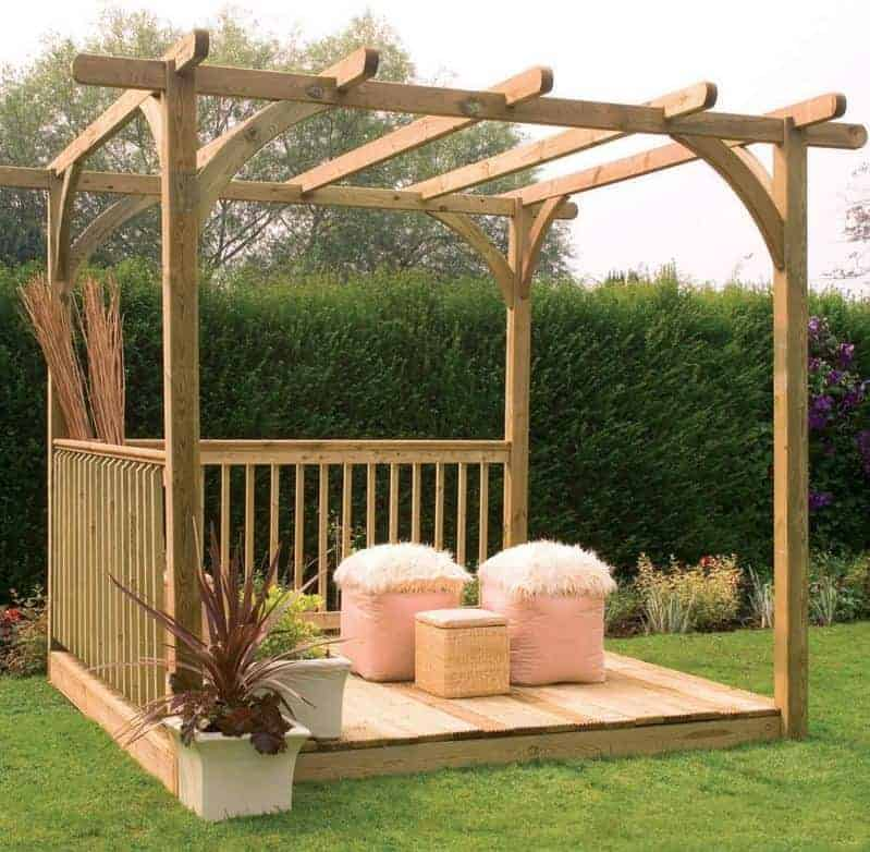 8' x 8' (2.44x2.44m) Forest Small Pergola Deck Kit