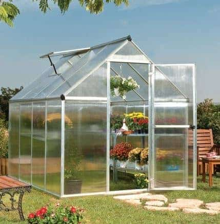 6'x8' Palram Mythos Walk In Silver Polycarbonate Greenhouse