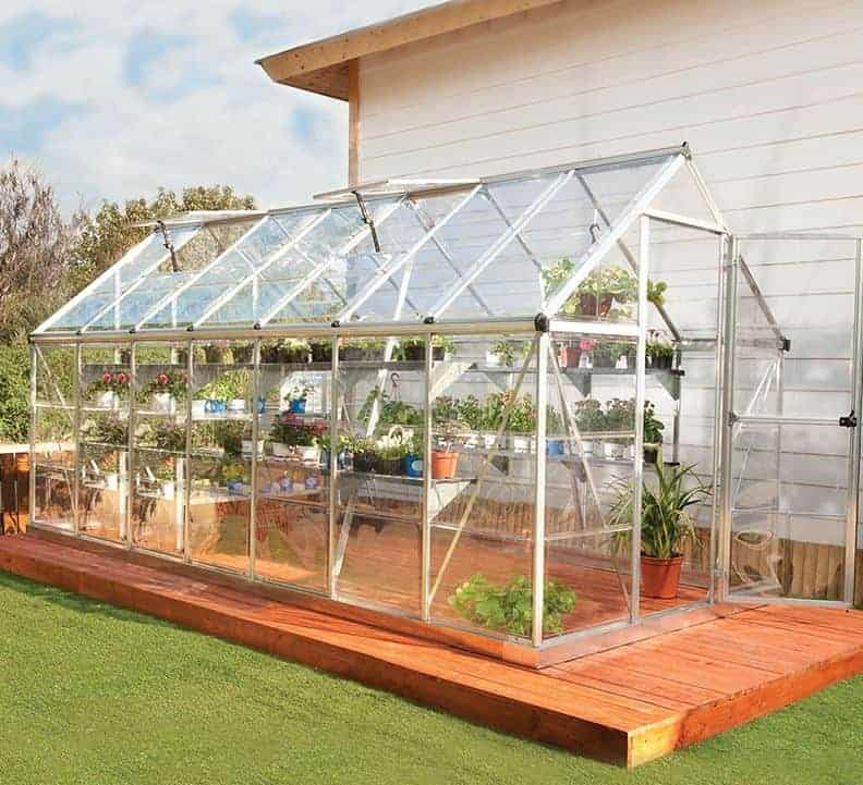 6'x14' Palram Harmony Large Walk In Silver Polycarbonate Greenhouse (1.8x4.2m)
