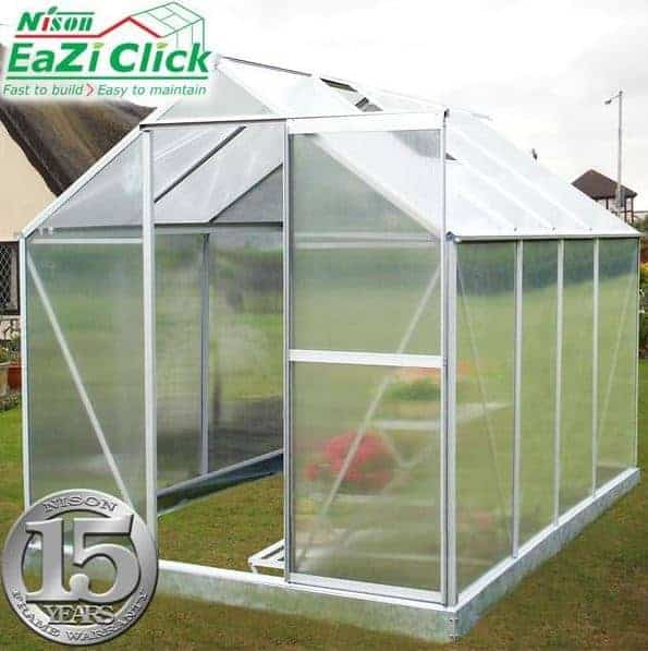 6'x8' Palram Mythos Walk In Silver Polycarbonate Greenhouse (1.8x2.4m)