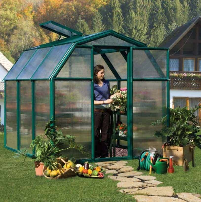 6'x6' Palram Rion EcoGrow Small Green Polycarbonate Greenhouse (1.8x1.8m)
