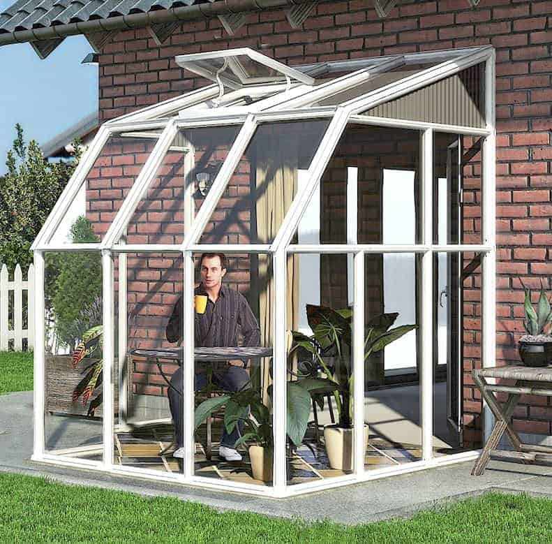 6'x6' Palram Rion White Lean to Greenhouse (1.8x1.8m)