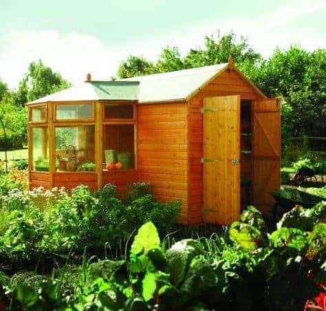 10' x 11' Rowlinson Wooden Corner Garden Potting Storage Shed (3.1m x 3.2m)