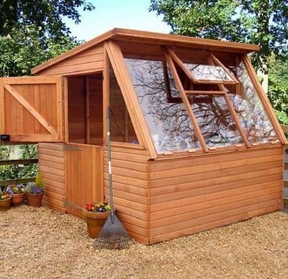 Waltons 8 x 6 Shiplap Single Door Potting Shed Wooden Greenhouse