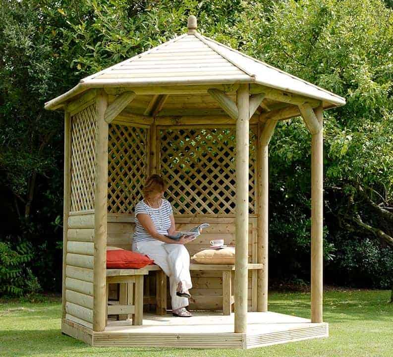 10'x9' (3x2.7m) Luxury Wooden Garden Gazebo with Timber Roof - Seats up to 10 people