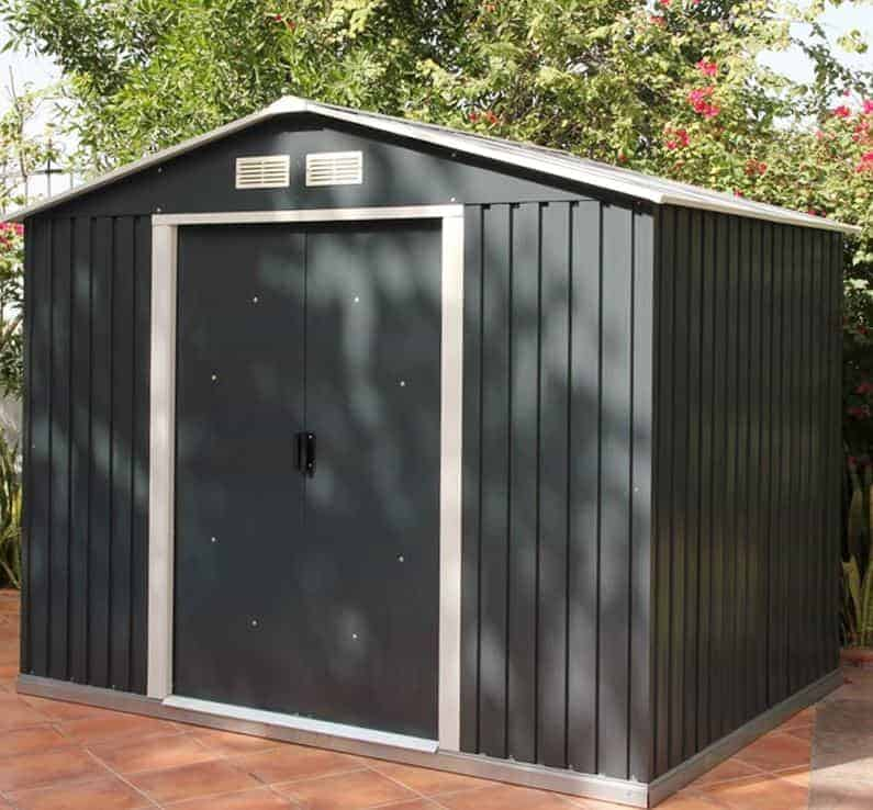 8' x 6' Sapphire Apex Anthracite Metal Shed (2.62m x 1.82m)