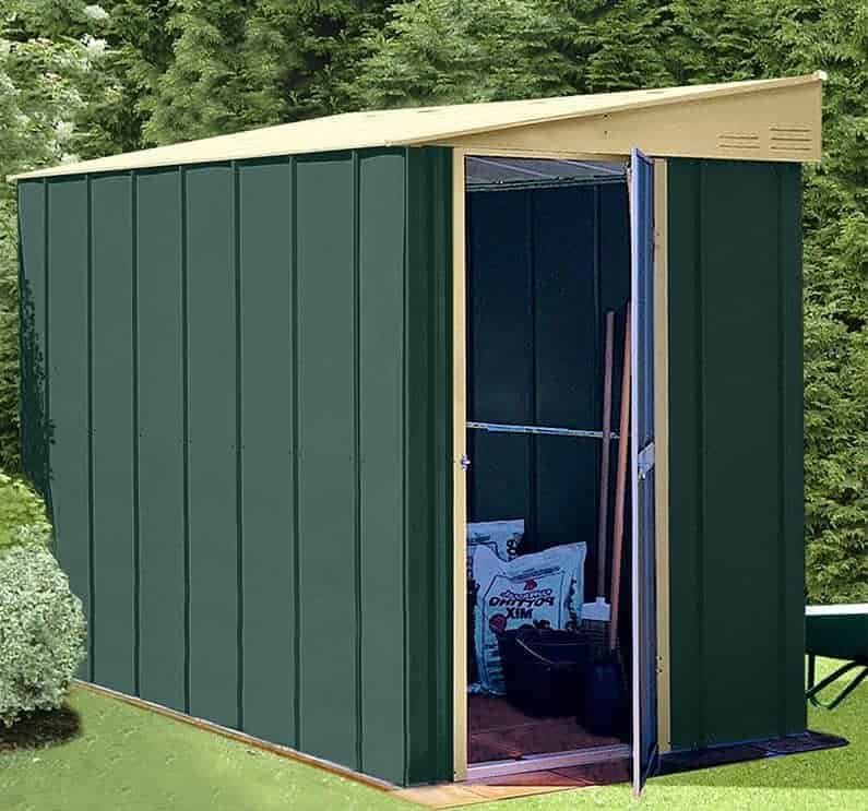 5' x 8' Lotus Heritage Green Lean-To Metal Shed (1.55m x 2.42m)