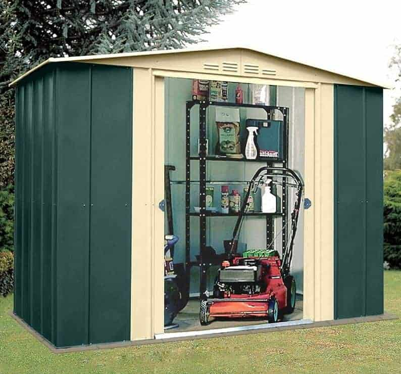 8' x 6' Lotus Heritage Green Apex Metal Shed (2.45m x 1.85m)