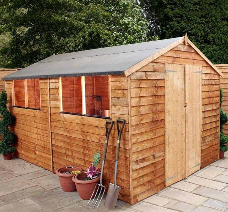 10' x 8' Windsor Overlap Double Door Apex Wooden Garden Workshop Shed (3.05m x 2.44m)