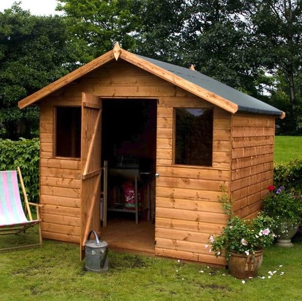 6x8 Waltons Tongue and Groove Apex Garden Shed with Front Windows