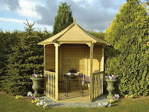 Wickes Hexagonal Garden Arbour With Floor - 2160 X 1870 Mm