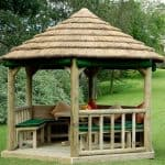Wooden Gazebos - 11x10 Royal Hexagon Thatched Roof Gazebo