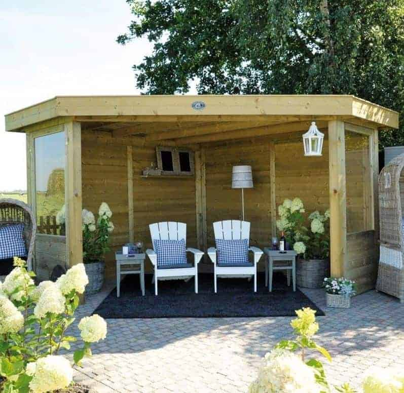11'x11' (3.5x3.5m) Square Wooden Garden Gazebo with Timber Roof