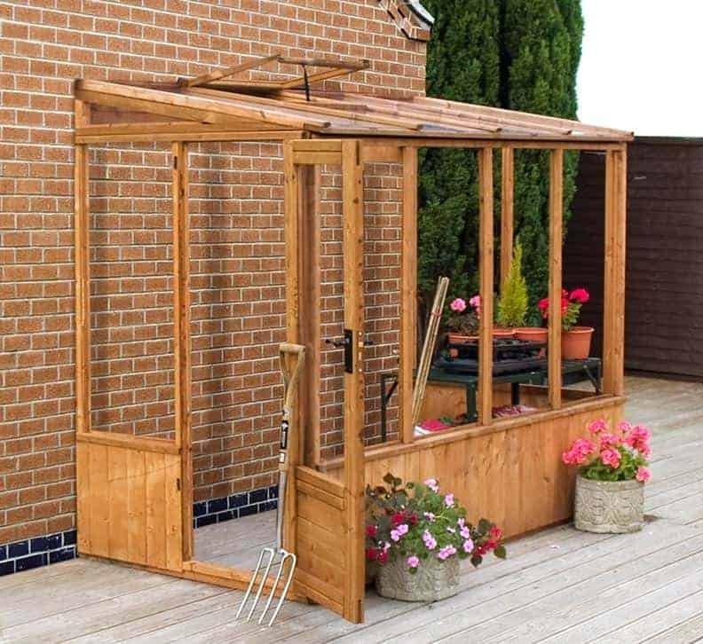 8'2 x 4'4 (2.49x1.32m) Windsor 84 Wooden Lean-To Greenhouse