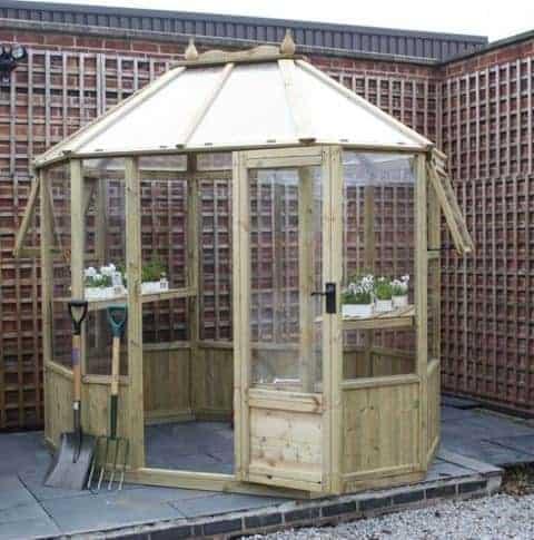 Waltons 8 x 6 Evesham Octagonal Wooden Greenhouse
