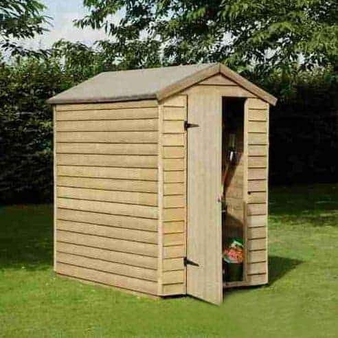 6' x 4' Forest Overlap Apex Pressure Treated Wooden Windowless Shed (1.83m x 1.32m)