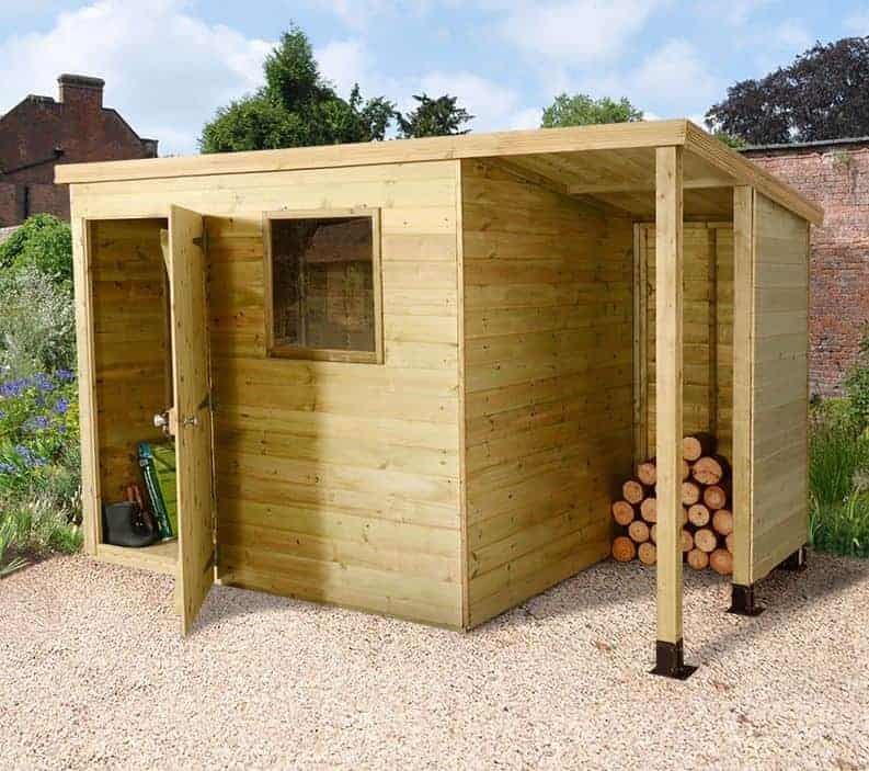 6' x 8' Shed-Plus Champion Heavy Duty Pent Shed - Single Door on Left with Logstore on Right (1.82m x 2.42m)