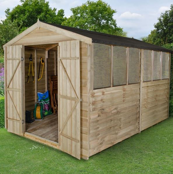 12' x 8' Forest Epping Overlap Pressure Treated Double Door Apex Wooden Shed