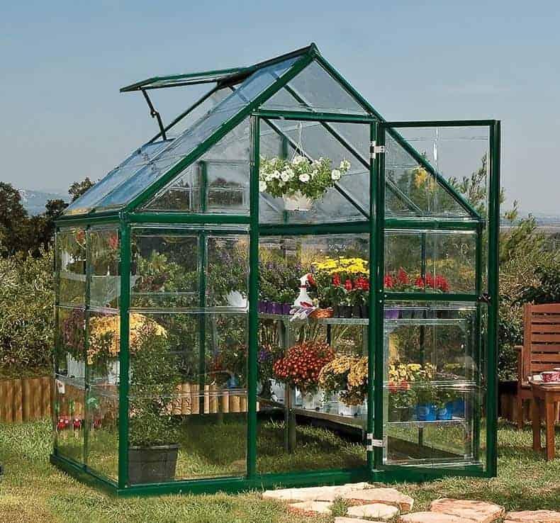 6'x4' Palram Harmony Small Green Polycarbonate Greenhouse (1.8x1.2m)