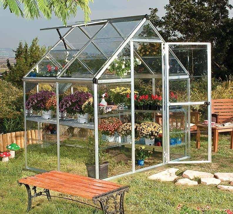6'x4' Palram Harmony Small Silver Polycarbonate Greenhouse (1.8x3.6m)