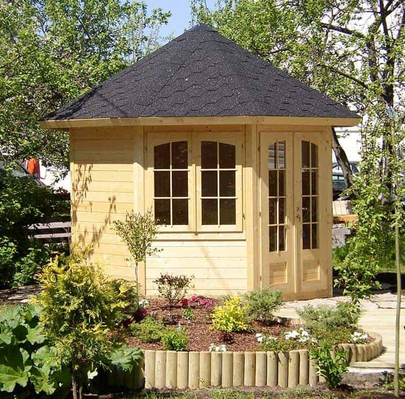 Palmako Veronica 3.1m x 2.9m Octagonal Summerhouse Log Cabin (28mm) - 2 Windows
