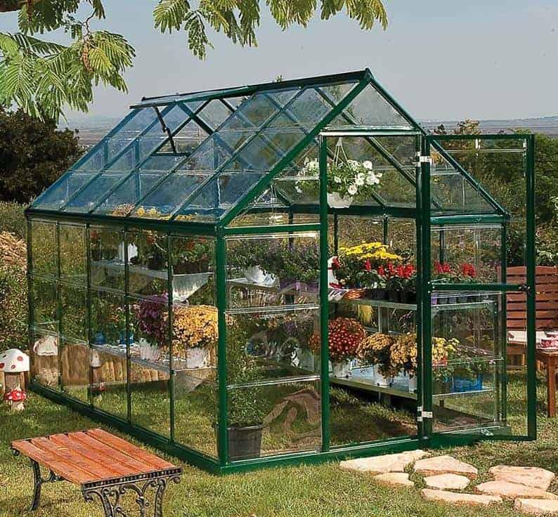 6'x10' Palram Harmony Walk In Green Polycarbonate Greenhouse