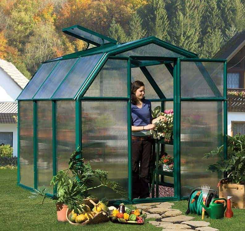 6'x6' Palram Rion EcoGrow Small Green Polycarbonate Greenhouse (1.8x1.8m)