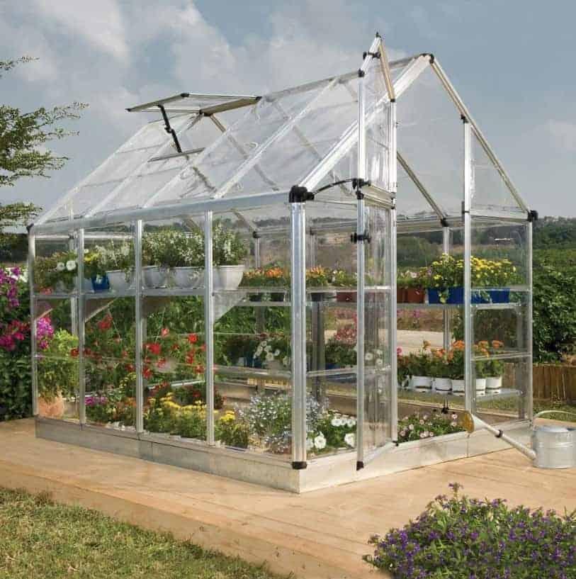 6'x8' Palram Harmony Walk In Silver Polycarbonate Greenhouse (1.8x2.4m)