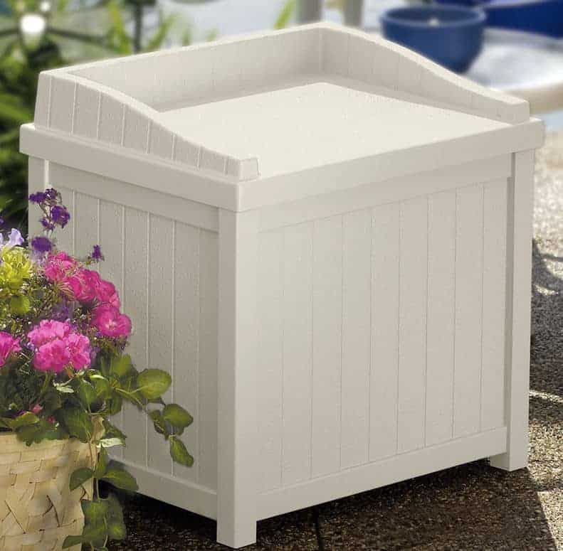 1'11 x 1'6 (0.57x0.45m) Suncast Resin Deck Box with Seat - Light Taupe - Plastic Garden Storage