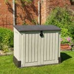 Plastic Garden Storage - Store It Out Midi Wood-Effect Pent Plastic Garden Storage Chest