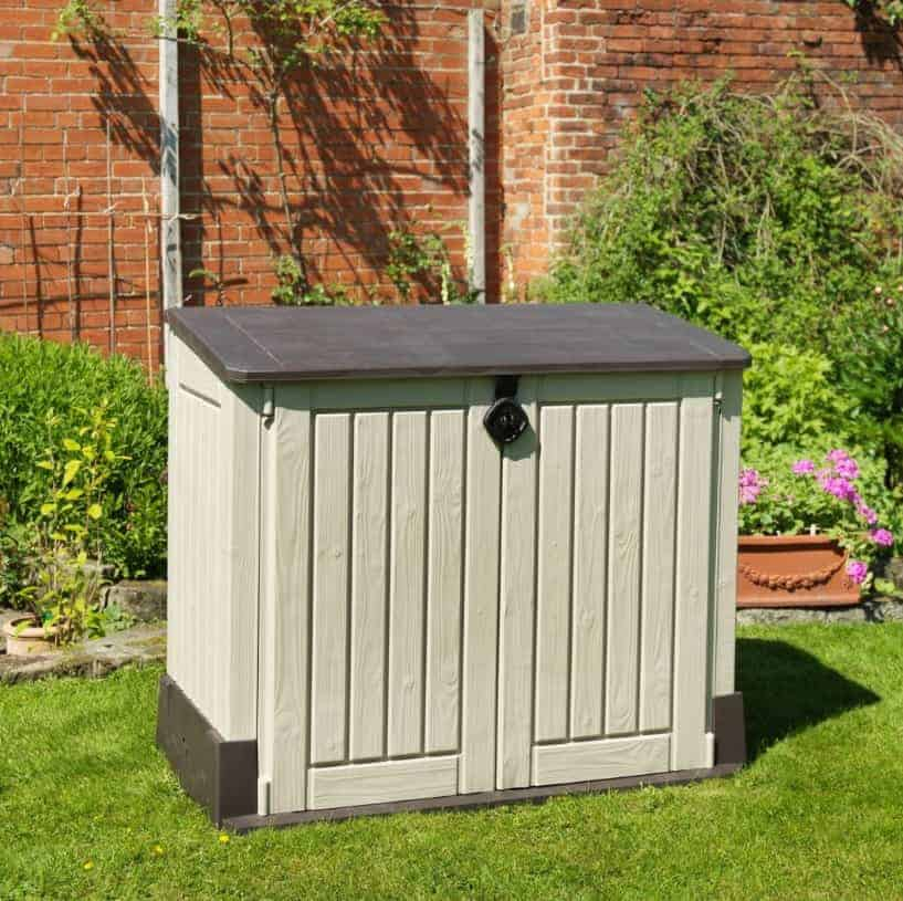 store it out midi wood effect pent plastic garden storage chest - Garden Sheds Gumtree