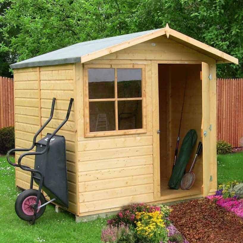 6'9 x 6'6 Shire Abri Apex Wooden Garden Shed (2.05m x 1.98m)