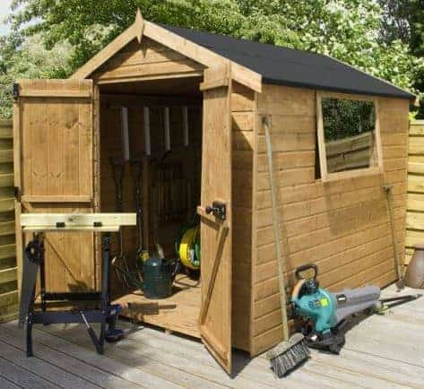 7'10 x 5'10 Shire Apex Warwick Double Door Wooden Garden Shed (2.38m x 1.79m)