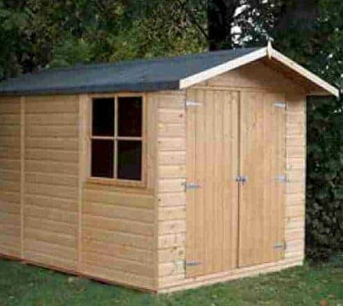 10' x 7' Shire Guernsey Double Door Wooden Garden Shed (3.35m x 2.2m)