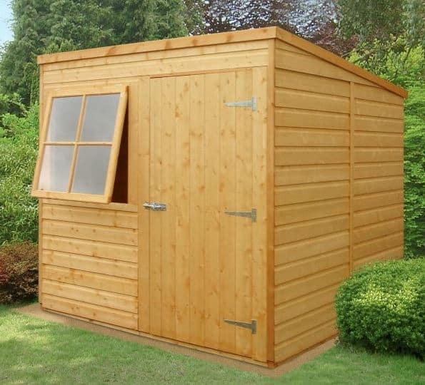 6'7 x 7' Shire Shiplap Pent Wooden Garden Shed (2.01m x 2.15m)