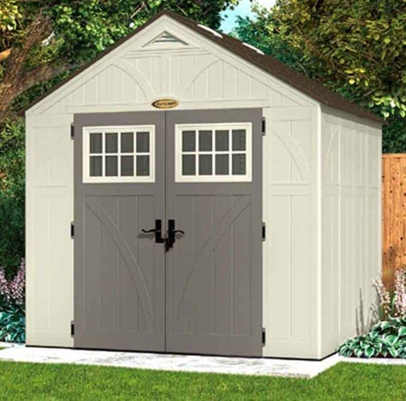 8' x 7' Suncast New Tremont Four Apex Roof Plastic Garden Storage Shed (2.43m x 2.17m)
