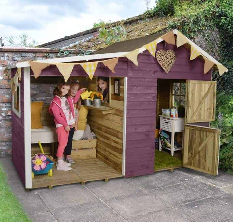 8x4 Forest Dixie Duo Traditional Kids Wooden Playhouse With Veranda